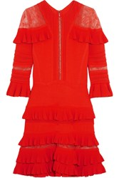 Elie Saab Lace Paneled Ruffled Stretch Knit Mini Dress Orange