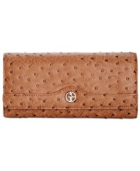 Giani Bernini Ostrich Embossed Receipt Manager Wallet Created For Macy's Mocha