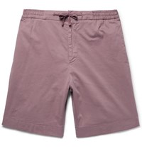 Officine Generale Garment Dyed Stretch Cotton Drawstring Shorts Lilac