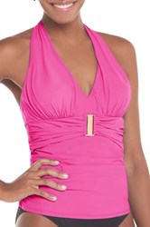 Spanx Belted Beauty Halter Tankini Top Plus Size Available Pink