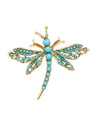Kenneth Jay Lane Turqouise Dragonfly Brooch Turquoise