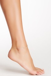 14K Yellow Gold Cz Station Anklet Metallic
