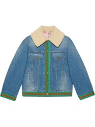 Gucci Denim Jacket With Shearling Blue