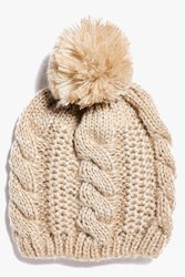 Boohoo Cable Knit Oversize Pom Beanie Hat Nude