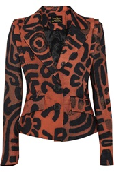 Vivienne Westwood Card Printed Textured Cotton Blazer Orange