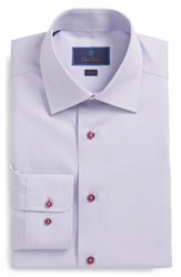 David Donahue Big And Tall Trim Fit Solid Dress Shirt Berry