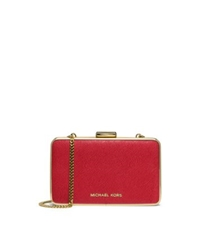 Michael Kors Elsie Saffiano Leather Box Clutch Red