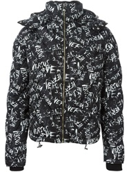 Versus Allover Logo Print Padded Jacket Black