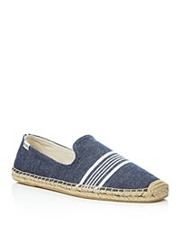 Soludos Woven Canvas Smoking Slipper Espadrilles Navy White