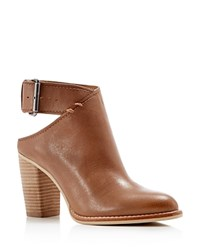 Dolce Vita Jacklyn Leather Cutout Buckle High Heel Booties Camel