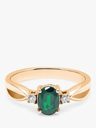 A B Davis 9Ct Gold Oval Emerald And Diamond Shoulder Ring