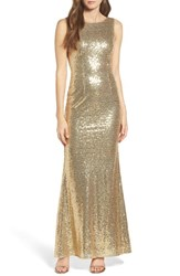 Lulus Women's Sleeveless Sequin Drape Back Gown Shiny Gold