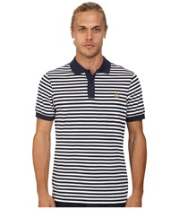 Fred Perry Fine Stripe Pique And Jersey Shirt Carbon Blue Men's Short Sleeve Knit Navy