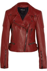 Tom Ford Leather Biker Jacket Red