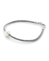 Lagos 18K Gold And Sterling Silver Luna Rope Bracelet With Cultured Freshwater Pearl White Silver