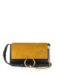 Chloe Faye Small Suede And Leather Shoulder Bag Navy Multi