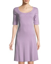 Three Dots 1 2 Sleeve Seamed Cotton Dress Lavender