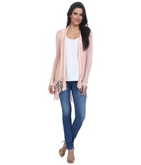 Only Primitive Long Sleeve Drapy Cardigan Peach Melba Women's Sweater Pink