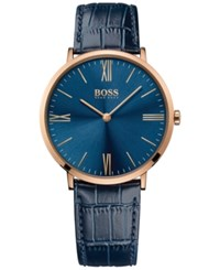 Hugo Boss Men's Jackson Blue Leather Strap Watch 40Mm 1513371