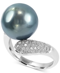 Effy Collection Effy Black Cultured Pearl 13Mm And Diamond 3 8 Ct. T.W. Ring In 14K White Gold