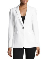 Tahari By Arthur S. Levine Double Face One Button Jacket White