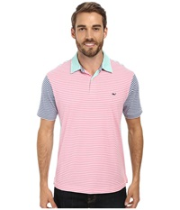 Vineyard Vines Party Stripe Jersey Polo Pink Men's Short Sleeve Pullover