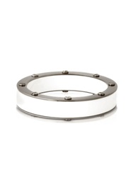 Pluma Resin And Brass Double Viti Small Bangle In Fumoso White