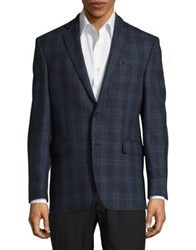 Black Brown Plaid Wool Sportcoat Blue