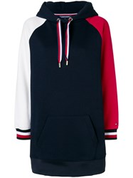 Tommy Hilfiger Colour Blocked Hooded Dress Cotton Polyester Blue