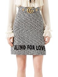 Gucci Embroidered Tweed Skirt Black Multicolor