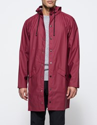 Rains Long Jacket In Bordeaux