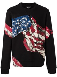 Just Cavalli American Flag Printed Sweatshirt Black
