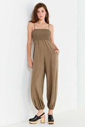 Urban Outfitters Uo Smocked Tie Strap Jumpsuit Khaki