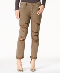 True Religion Audrey Ripped Daah Olive Wash Boyfriend Jeans