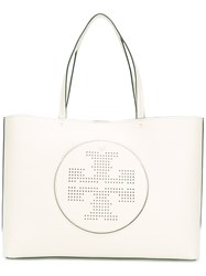 Tory Burch Perforated Logo Tote Nude Neutrals