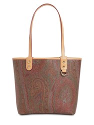 Etro Paisley Coated Canvas Mini Tote Brown