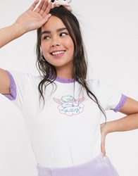 Lazy Oaf Shrunken Short Sleeve Top With Angel Embroidery And Lace Trim White