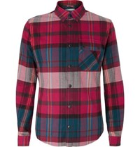 Aztech Mountain Lodge Peak Checked Brushed Cotton Flannel Shirt Burgundy
