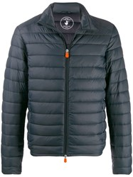 Save The Duck Quilted Zip Front Coat Grey