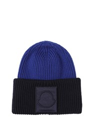 Moncler Wool Beanie W Patch Blue