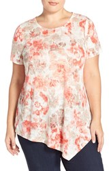 Plus Size Women's Two By Vince Camuto 'Floral Wash' Print Asymmetrical Hem Burnout Tee Plus Size