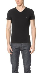 Emporio Armani Stretch Cotton V Neck Tee Black