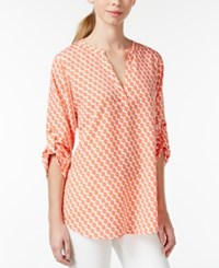 Maison Jules Printed Roll Tab Sleeve Top Only At Macy's