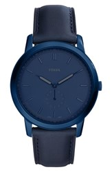 Fossil Minimalist Leather Strap Watch 44Mm Blue Blue Blue