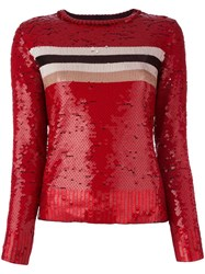 Aviu Striped Sequin Jumper Red