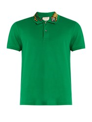 Gucci Tiger Embroidered Collar Pique Polo Shirt Green