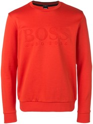 Hugo Boss Embossed Logo Sweatshirt Orange