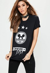 Missguided Black Mickey Graphic T Shirt