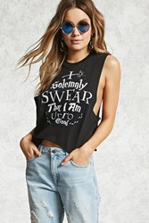 Forever 21 I Solemnly Swear Graphic Tank Black White