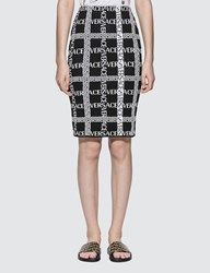 Versace Grid Logo Printed Knit Midi Skirt Black